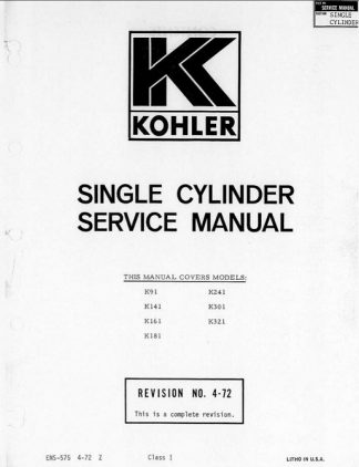 Kohler k321 Service Repair Manual