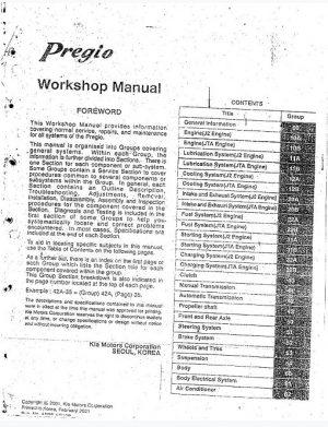 Kia Pregio Service Manual