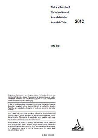 Deutz tcd 2012 l04 2v Service Repair Manual
