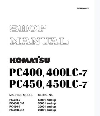 Komatsu Pc400lc-7, Pc450lc-7 Excavator Shop Manual