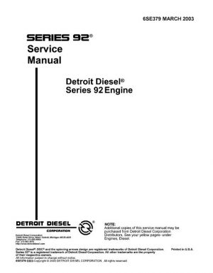 Detroit Diesel V92 Engine Service Manual