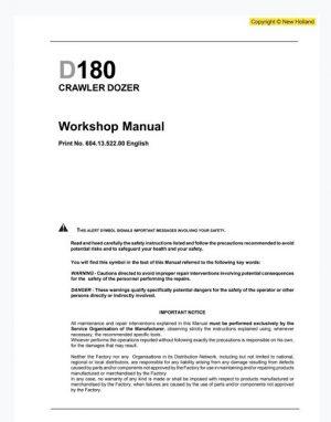 New Holland D180 CRAWLER DOZER Workshop Manual