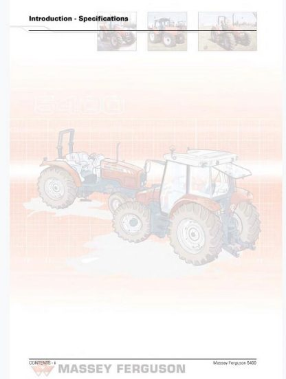 Massey Ferguson Mf 5400 Series Tractor Service Manual