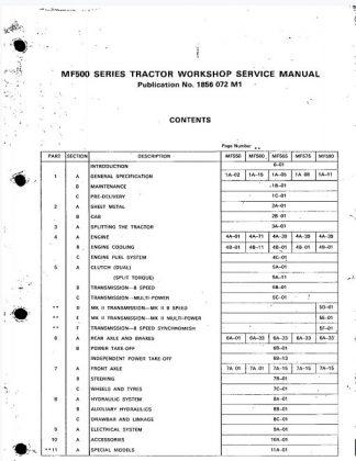 Massey Ferguson Mf500 Series Tractor Workshop Manual