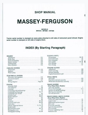 Massey Ferguson Mf670 Mf690 Mf698 Tractor Shop Manual