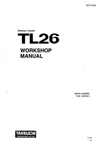 Takeuchi TL26 Workshop Manual