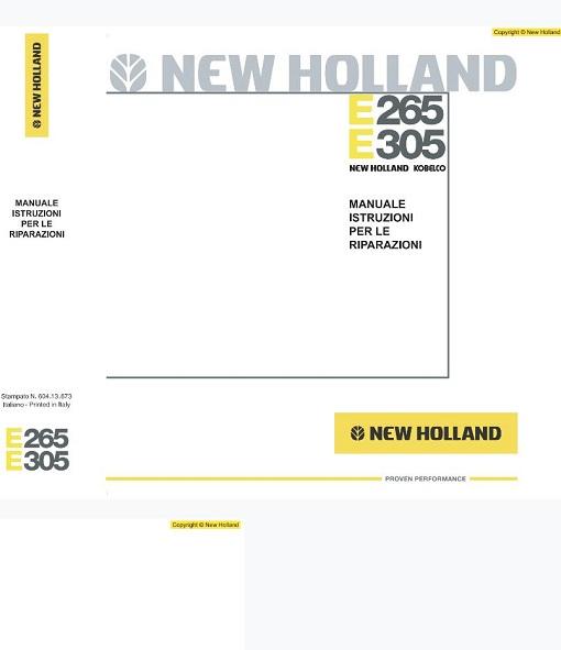 New Holland E265, E305 Tier3 Excavator Repair Manual