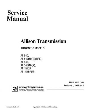 Allison Transmission AT 540,AT 545,AT 1542P Service Manual