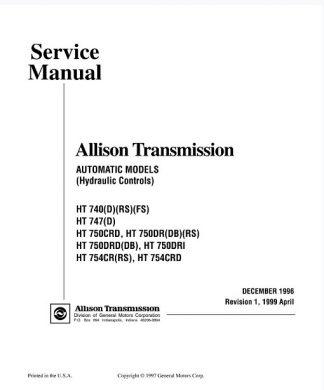 Allison Transmission HT 740,750 Series Service Manual