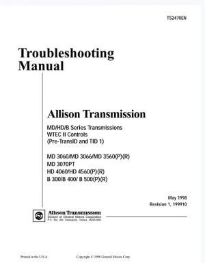 Allison Transmission MD 3060 Series Troubleshooting Manual