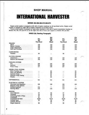 International Harvester Shop Manual 454, 464, 484, 574, 584,674