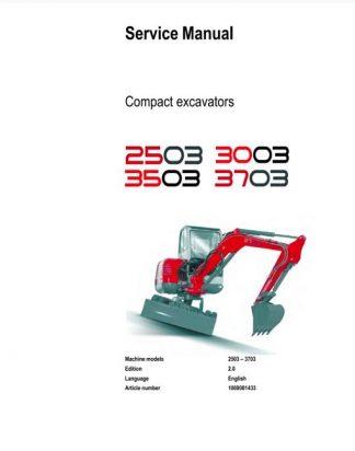 Neuson 2503 3003 3503 3703 Compact Excavator Service Manual