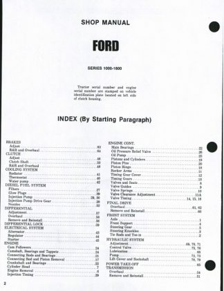 Ford Tractor 1000 - 1600 Series Service Shop Manual