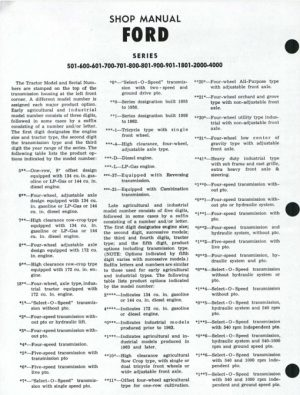 Ford Tractor 501-4000 Series Service Shop Manual