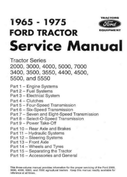 1965-1975 Ford 2000 to 7000 Tractor Service Manual