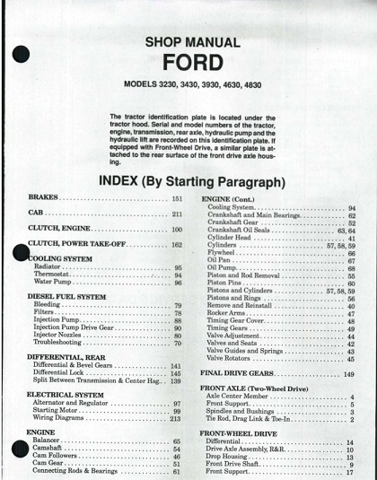 Ford Tractor 3230 3430 3930 4630 4830 Service Shop Manual