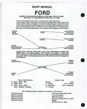 Ford Tractor 2310 2600 2610 3600 3610 4100 4110 4600 4610 4600SU 4610SU Shop Manual