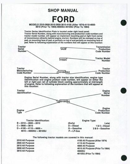Ford Tractor 2310 2600 2610 3600 3610 4100 4110 4600 4610 4600SU 4610SU Shop Manual
