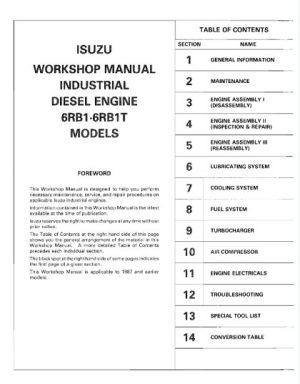 Isuzu 6RB1, 6RB1T Diesel Engine Service Repair Manual