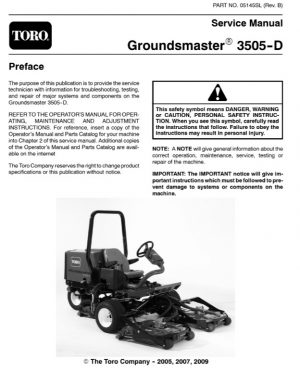 Toro Groundsmaster 3505-D Service Manual
