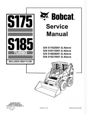 Bobcat S175, S185 Turbo Skid - Steer Loader Service Repair Manual