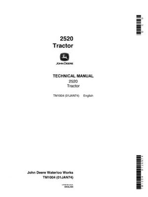 John Deere 2520 Tractor Technical Manual