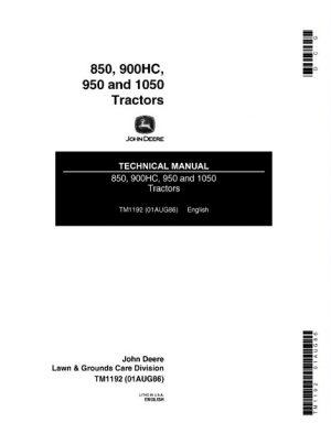 John Deere 850, 900HC, 950, 1050 Tractors Service Manual