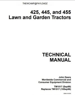 John Deere 425, 445, 455 Lawn and Garden Technical Manual
