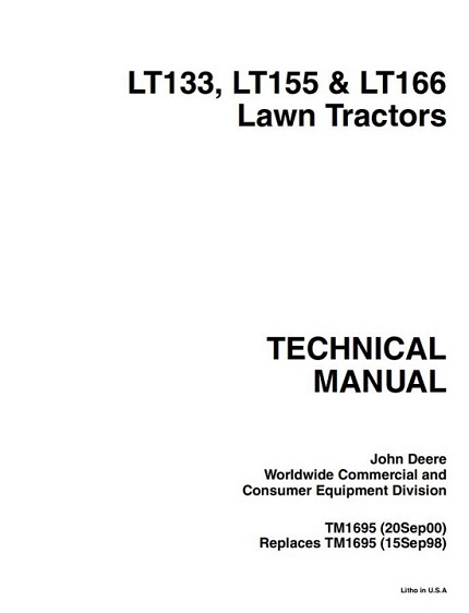 John Deere LT133, LT155, LT166 Lawn Tractors Technical Manual