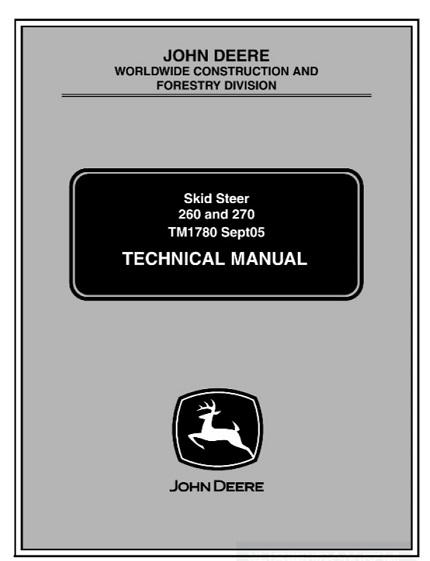 John Deere 260, 270 Skid Steer Loaders Service Manual