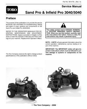 Toro Sand Pro & Infield Pro 3040 5040 Service Manual