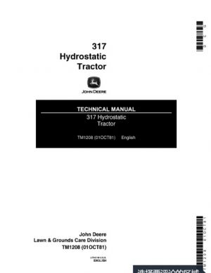 John Deere 317 Hydrostatic Tractor Technical Manual