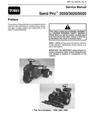 Toro Sand Pro 2020 3020 5020 Service Repair Manual