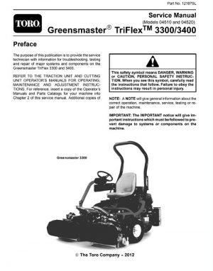Toro Greensmaster TriFlex 3300 3400 Service Manual