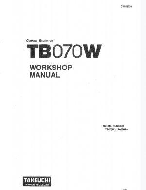 Takeuchi TB070W Compact Excavator Service Manual