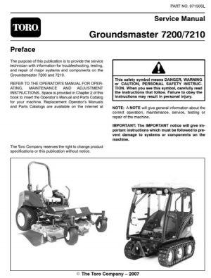 Toro Groundsmaster 7200 7210 Service Manual