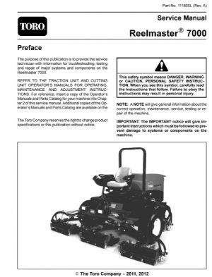 Toro Reelmaster 7000 Mower Service Manual
