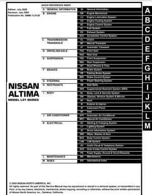 2006 Nissan Altima Service Repair Manual
