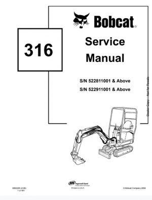 Bobcat 316 Mini Excavator Service Manual