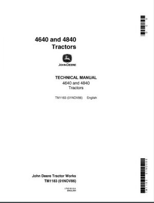 John Deere 4640, 4840 Tractors Service Technical Manual
