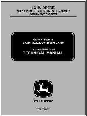 John Deere GX255, GX325, GX335, GX345 Garden Tractor Service Technical Manual