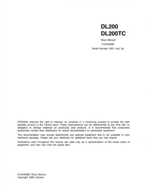 Doosan DL200, DL200TC Wheel Loader Service Manual
