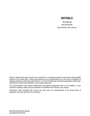 Deawoo Doosan DX700LC Excavator Service Repair Manual