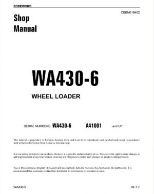Komatsu WA430-6 Wheel Loader Service Repair Manual