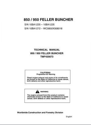 Timberjack 850, 950 Feller Buncher Technical Manual