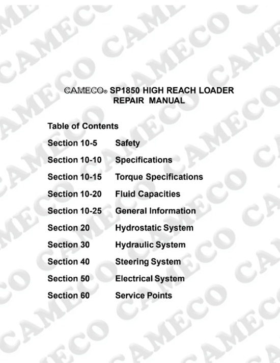 Cameco SP1850 High Reach Loader Service Manual